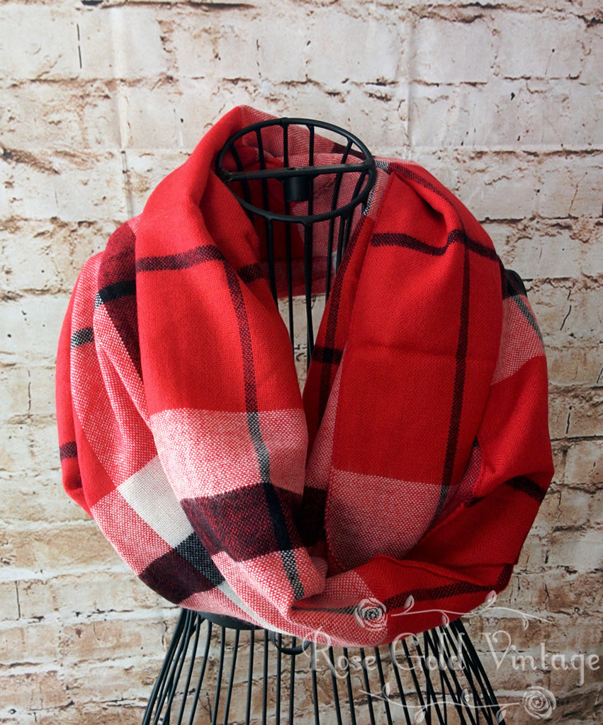 Red Multi Plaid Infinity Scarf