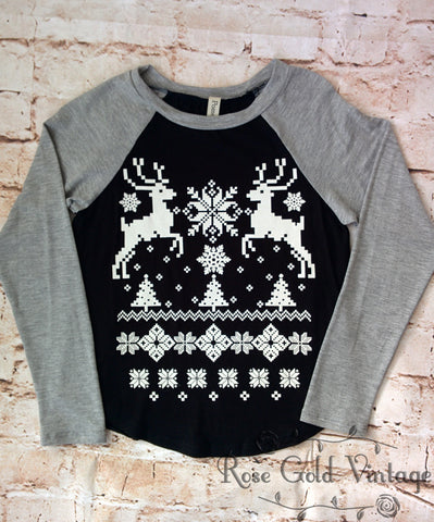 Reindeer Sweater Print Raglan Tee (Youth)