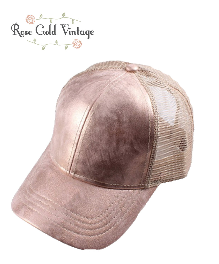 CC Metallic Baseball Hat - Rose Gold