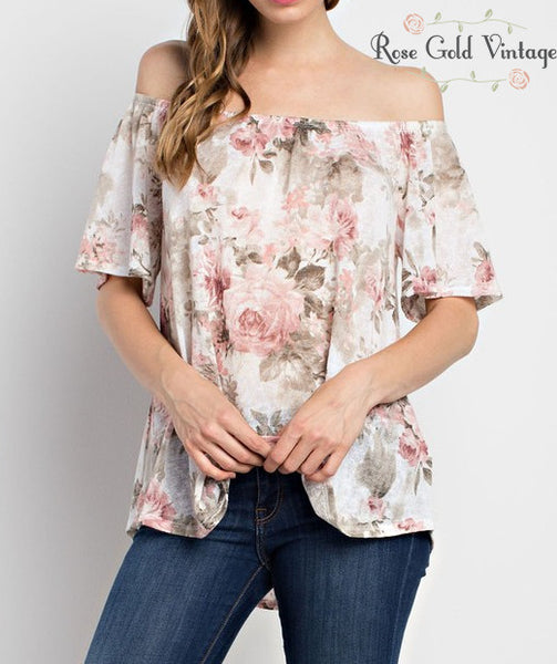 Off Shoulder Rose Print Top (Ladies)