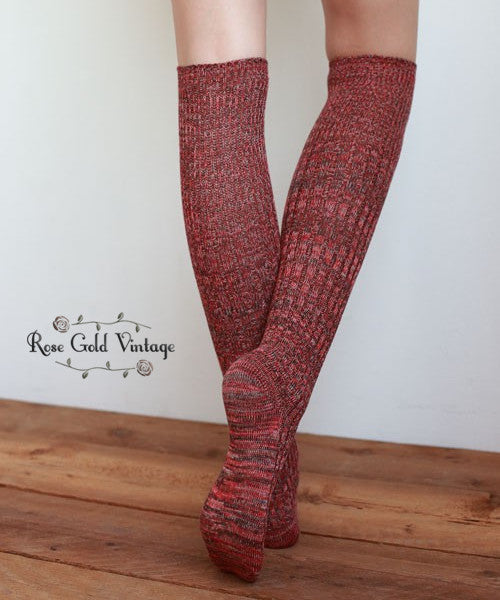 Mixed Knit Boot Socks Rust Rose Gold Vintage