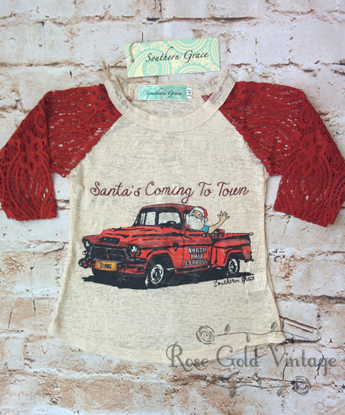 Santa's Coming to Town Lace Sleeve Burnout Tee (Toddler & Youth)