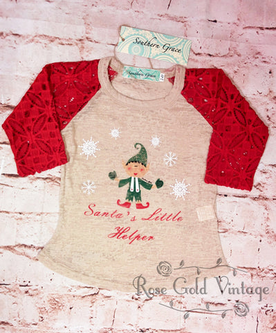 Santa's Little Helper Lace Sleeve Burnout Tee (Toddler & Youth)