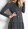 Charcoal Long Sleeve Ruffle Tunic (Ladies)