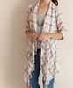 Spring Plaid Fringe Cardigan (Ladies)