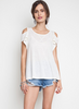 Cold Shoulder Tee - Cream or Black (Ladies)
