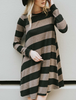 Striped Pocket Dress - Black & Mocha