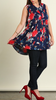 Floral Button Up Tunic - Navy
