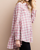 Plaid Ruffle Back Shirt - Peach