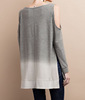 Ombre Cold Shoulder Top - Gray