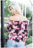 Off Shoulder Top - Black Floral