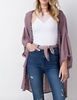 Double Ruffle Open Cardigan - Mauve