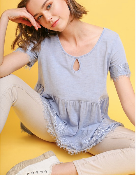 Lace Babydoll Tee - Light Blue