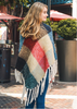 Color Block Tassel Poncho - Red Multi