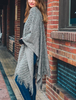 Diagonal Knit Ruana Wrap Poncho - Gray
