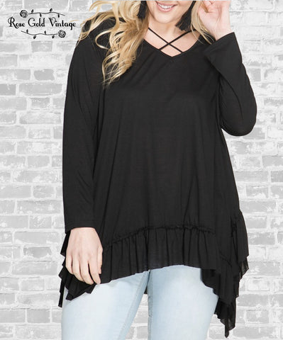 Ruffle Hem Criss Cross Tunic - Black