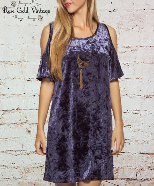 Crushed Velvet Cold Shoulder Dress - Blue