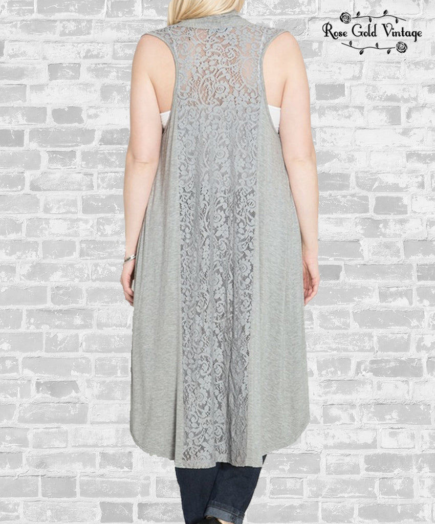 Gray Lace Duster