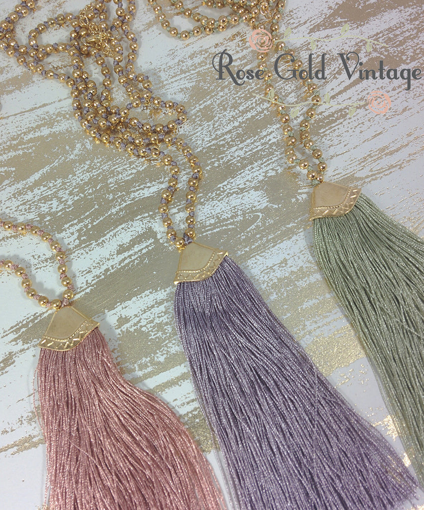 Silk Tassel Long Necklaces - Blush, Periwinkle or Sage