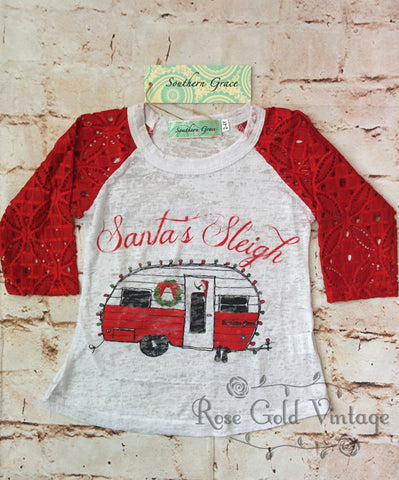 Santa's Sleigh Lace Sleeve Burnout Tee (Toddler & Youth)