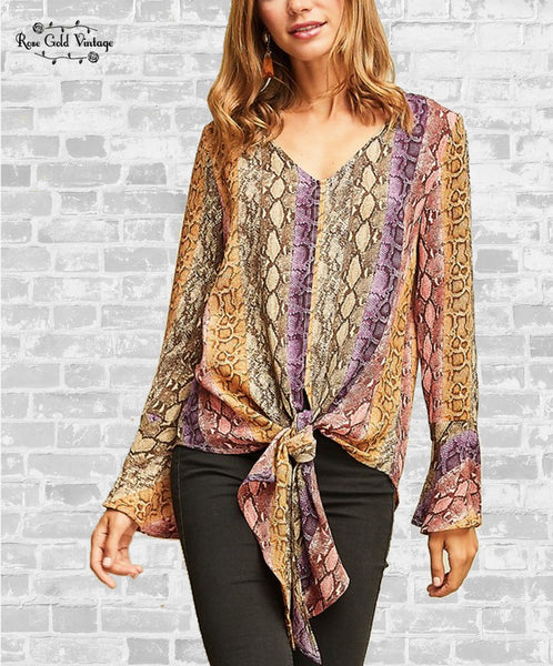 Snakeskin Tie Front Blouse - Multicolor