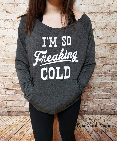 I'm So Freaking Cold Pocket Top - Gray