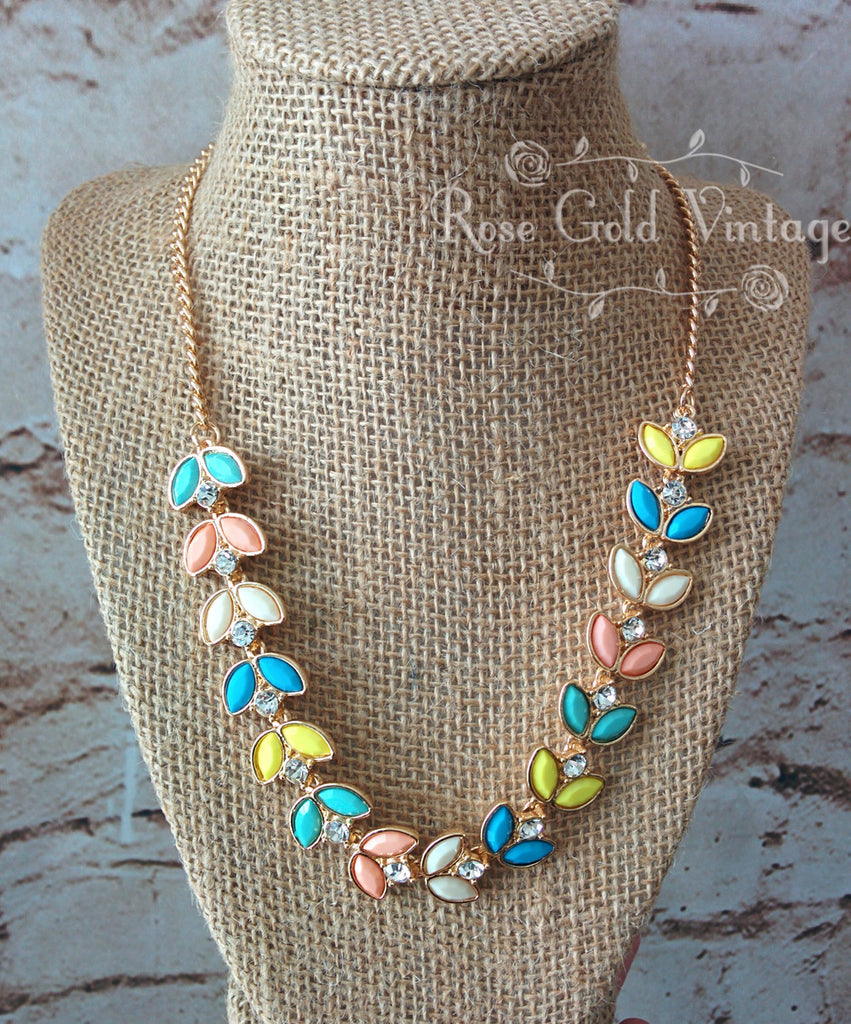 Spring Leaves Statement Necklace