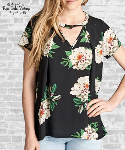 Floral Crepe Top - Black