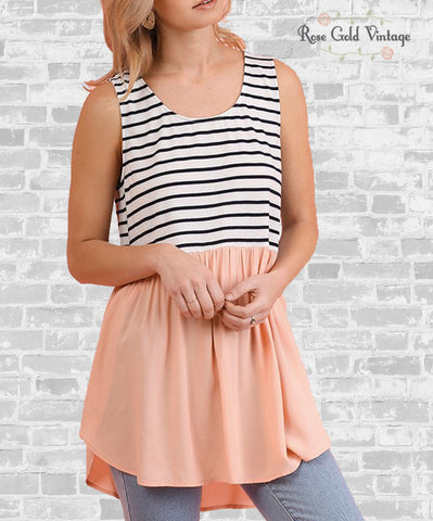 Sleeveless Striped Top - Blush