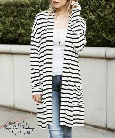 Stripe Cardigan - Black/White