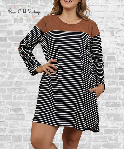 Suede Color Block Striped Pocket Tee Dress