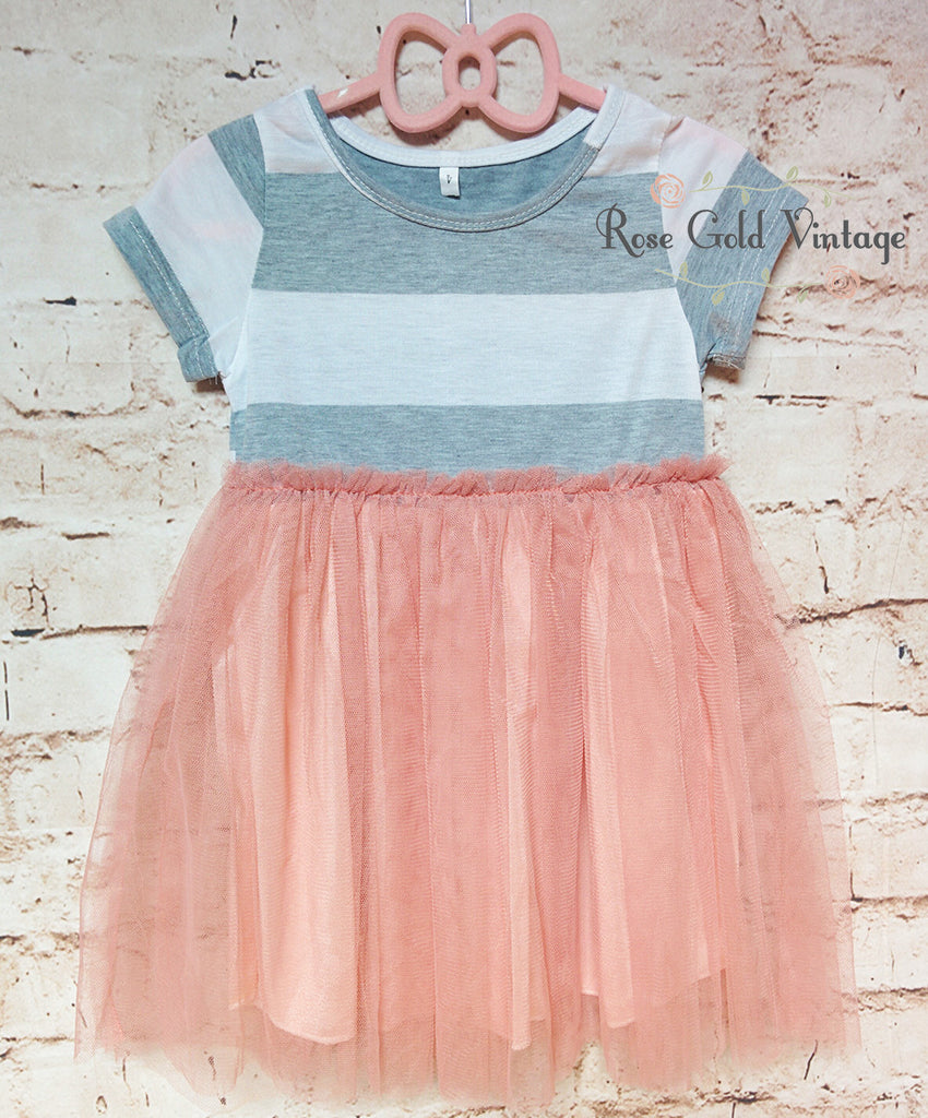 Striped T-Shirt Dress with Tulle (Toddler)