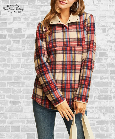 Tartan Plaid Fleece Pullover - Taupe