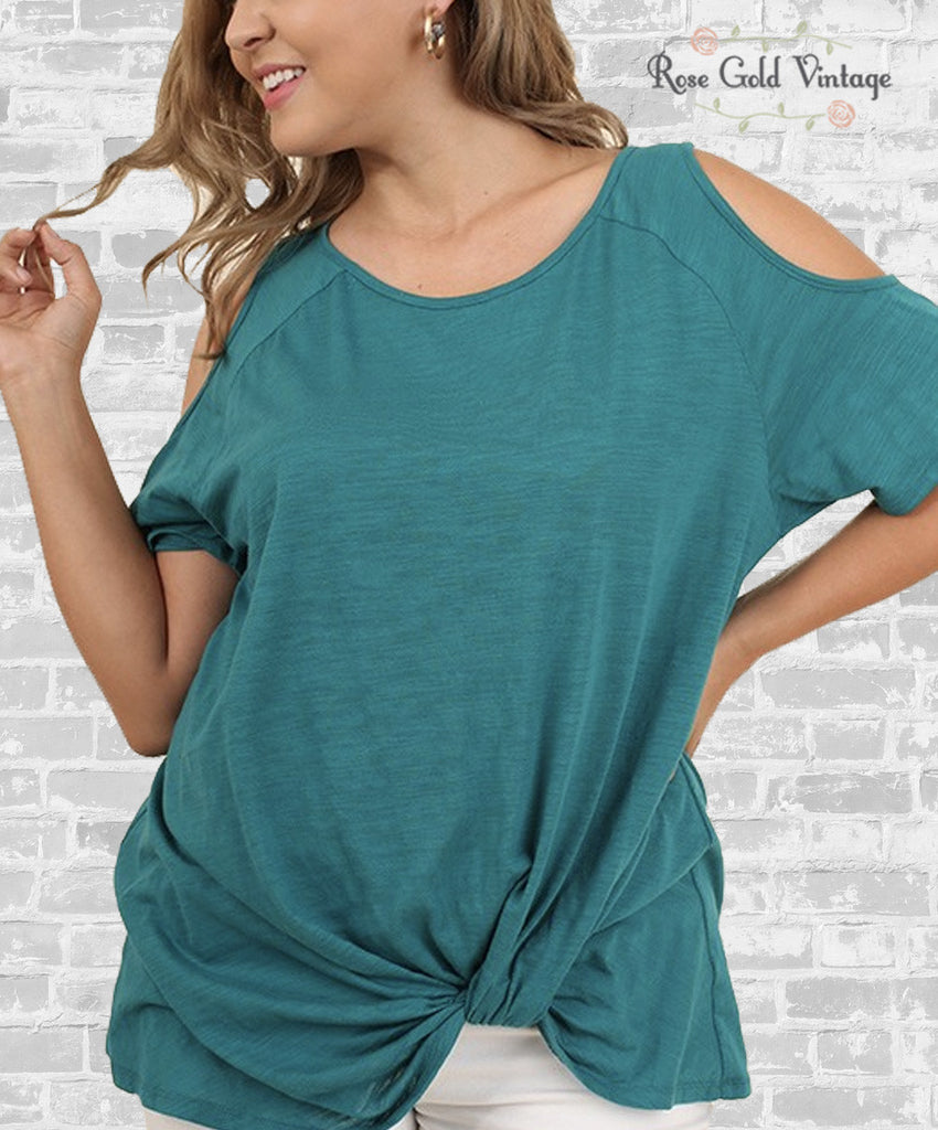 Cold Shoulder Knot Tee - Teal