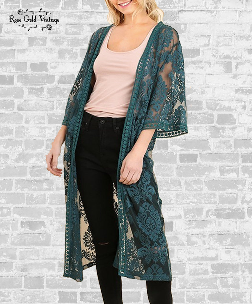 Embroidered Lace Duster - Teal