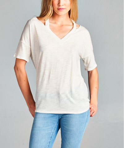 Quarter Sleeve Cutout Tee - Off White