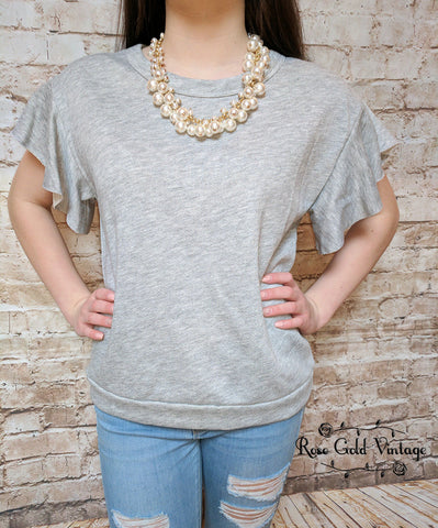 Flutter Sleeve Top - Gray