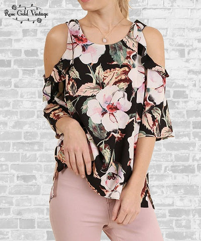 Cold Shoulder Ruffle Top - Black Floral