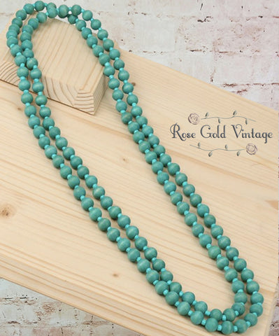 Double Layer Wood Bead Necklaces (Turquoise, Pink or Ivory)