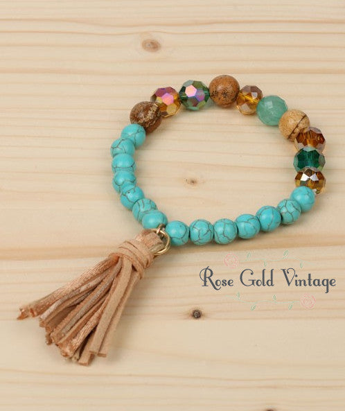 Beaded Stretch Bracelet with Tassel (Turquoise)