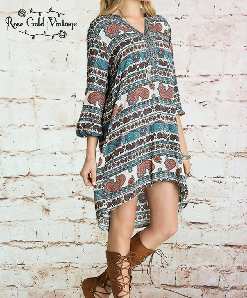 Paisley 3/4 Sleeve Boho Dress