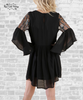 Embroidered Angel Sleeve Dress - Black