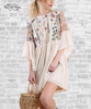 Embroidered Angel Sleeve Dress - Natural