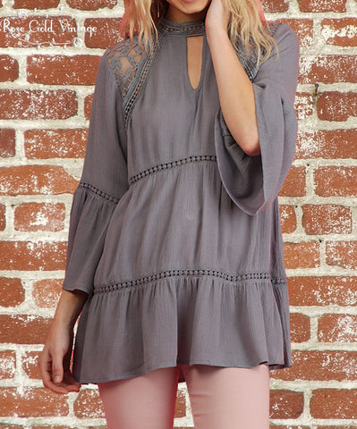 Lace Keyhole Top - Grey