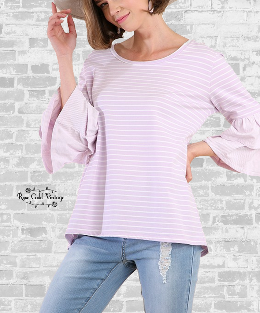 Pastel Striped Bell Sleeve Tee - Lilac