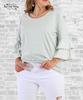 Pastel Striped Bell Sleeve Tee - Sage