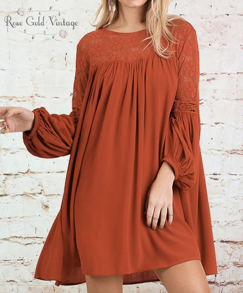 Lace Sleeve A-Line Dress - Brick Red
