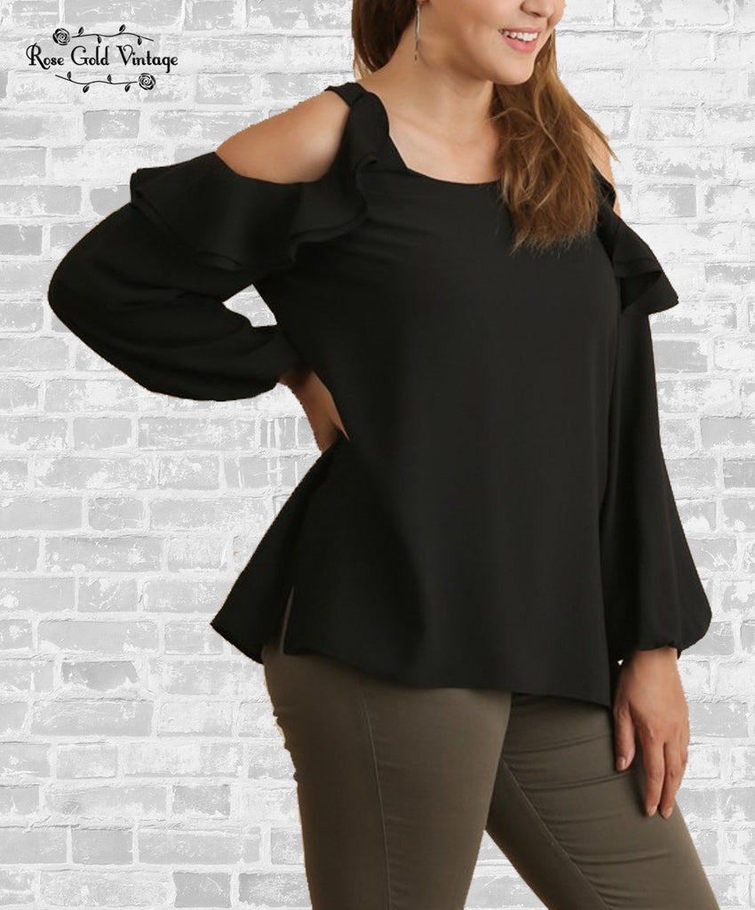 Long Sleeve Cold Shoulder Ruffle Top - Black