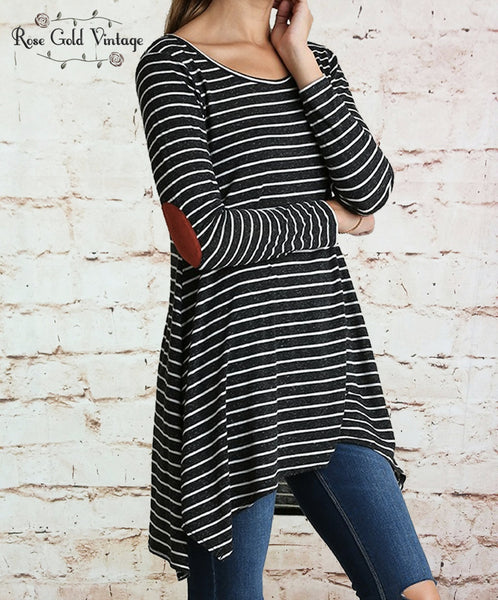 Striped Elbow Patch Tunic - Black