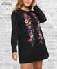 Floral Embroidered Tee Dress - Black